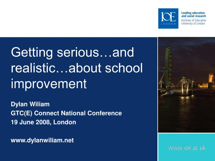 getting serious and realistic about school improvement n.