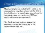 what is the maryland commuter tax credit