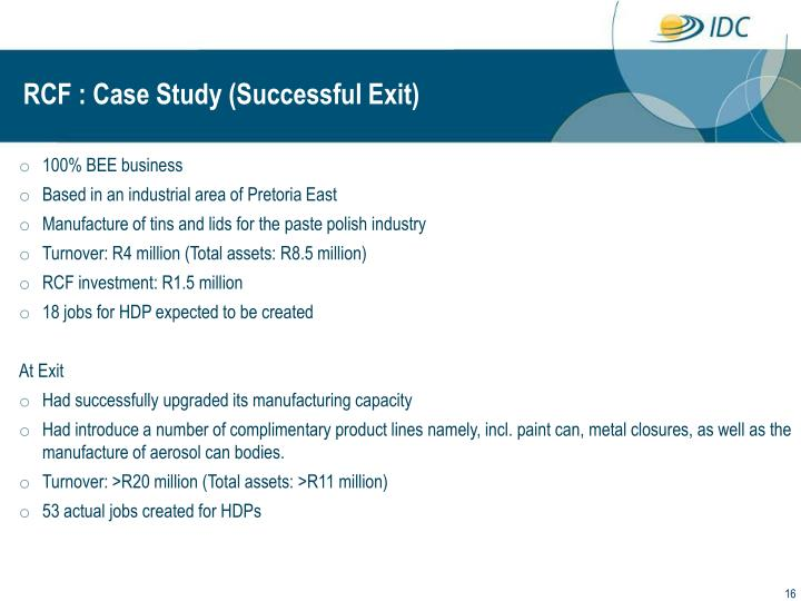 RCF : Case Study (Successful Exit)