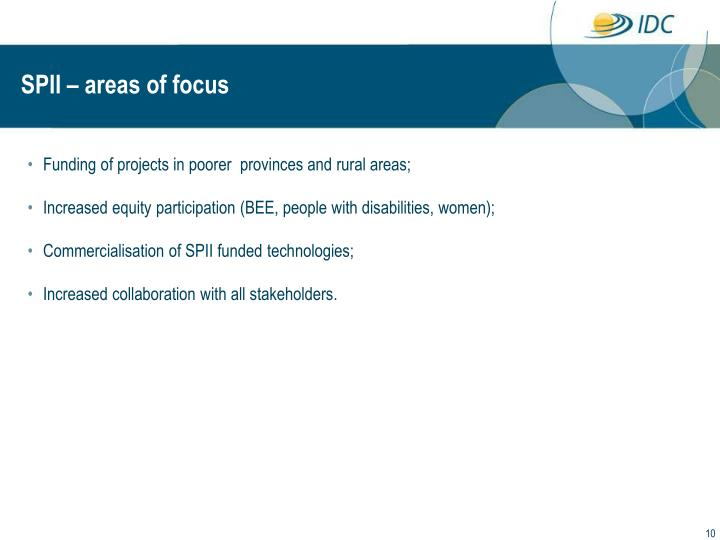 Funding of projects in poorer  provinces and rural areas;