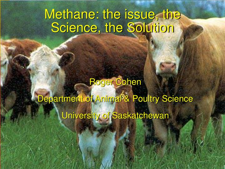 methane the issue the science the solution n.