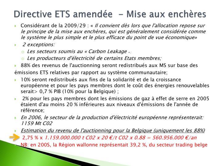 Directive ETS amendée  - Mise aux enchères