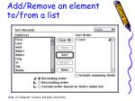 add remove an element to from a list