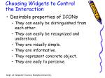 choosing widgets to control the interaction3