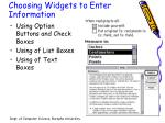 choosing widgets to enter information