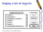 display a list of objects