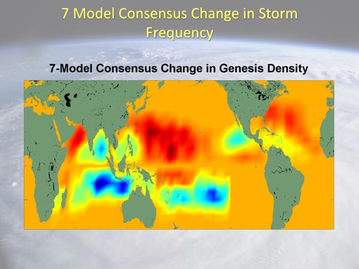 7 Model Consensus Change in Storm Frequency