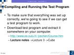 compiling and running the test program