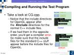 compiling and running the test program11