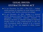legal issues extracts from act