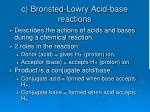 c bronsted lowry acid base reactions