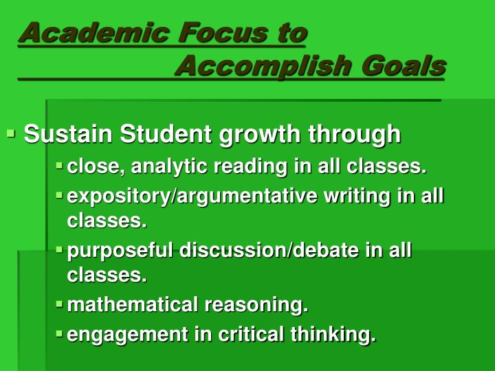 Academic Focus to