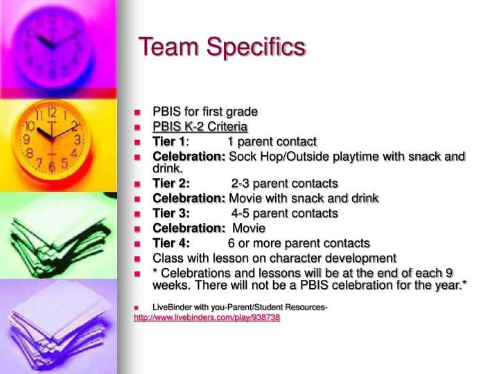 Team Specifics