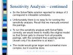 sensitivity analysis continued2
