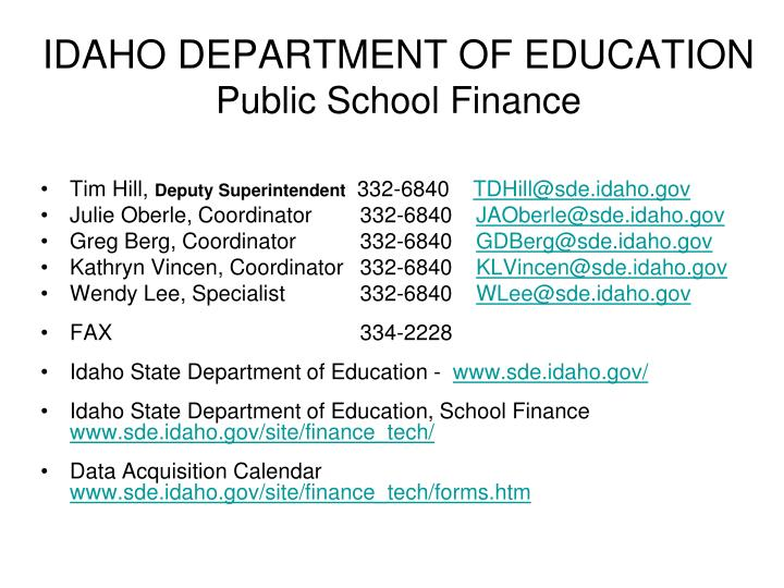 idaho department of education public school finance n.