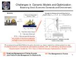 challenges in dynamic models and optimization balancing socio economic demands and environment