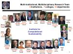 multi institutional multidisciplinary research team 6 institutions 7 colleges 12 departments