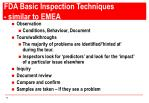 fda basic inspection techniques similar to emea