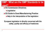 gmp what are the gmp standards to be used