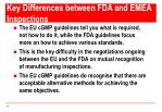 key differences between fda and emea inspections