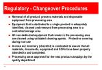 regulatory changeover procedures