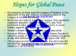 hopes for global peace