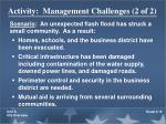 activity management challenges 2 of 2