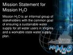 mission statement for mission h 2 o
