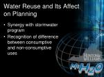 water reuse and its affect on planning