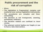 public procurement and the risk of corruption