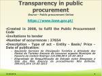 transparency in public procurement source public procurement online