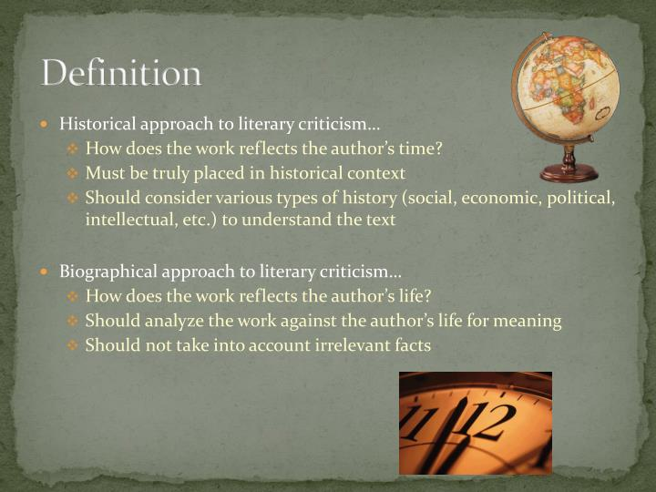the different approaches to literary criticism Whereas traditional criticism examined the preponderant themes in a literary piece, deconstructive critics, thirdly, seize on something oblique or minimal, using this as a wedge into very different understandings.