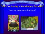 we re having a vocabulary parade