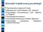 kierunki wsp czesnej psychologii