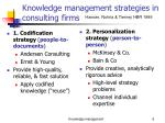knowledge management strategies in consulting firms