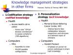 knowledge management strategies in other firms