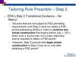 tailoring rule preamble step 2
