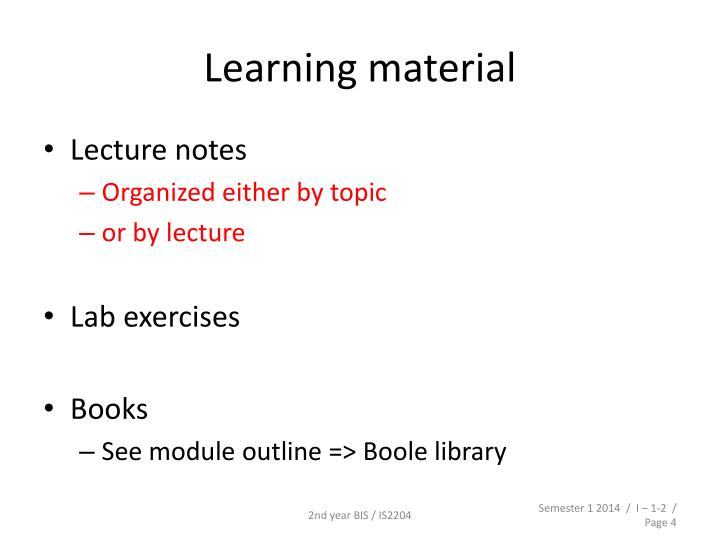Learning material