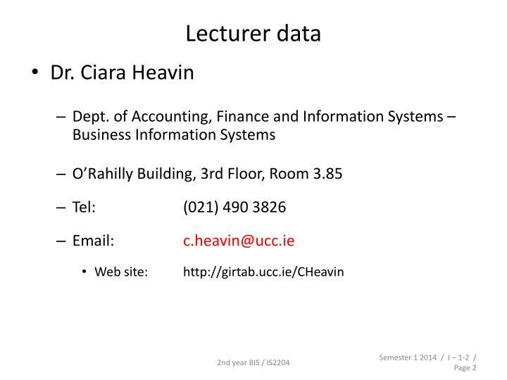 Lecturer data
