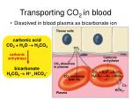 transporting co 2 in blood