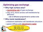 optimizing gas exchange