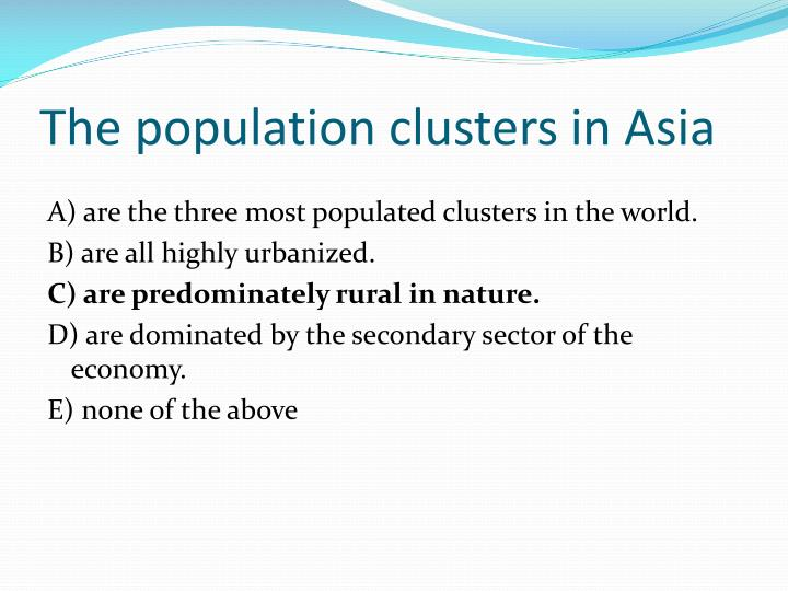 The population clusters in Asia