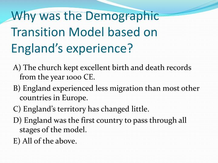 Why was the Demographic Transition Model based on England's experience?
