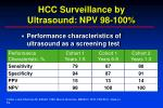 hcc surveillance by ultrasound npv 98 100