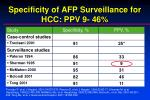 specificity of afp surveillance for hcc ppv 9 46