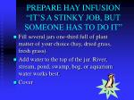 prepare hay infusion it s a stinky job but someone has to do it