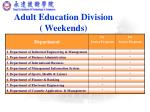 adult education division weekends