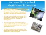 hurricane mitch set back development in h onduras
