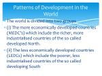 patterns of development in the world