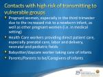contacts with high risk of transmitting to vulnerable groups